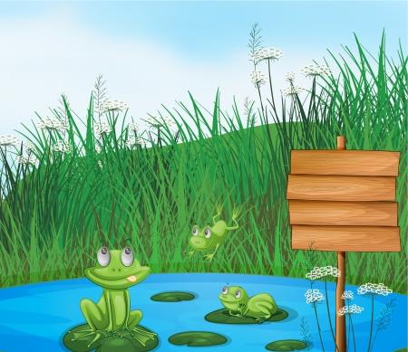 rana venenosa: Ilustración de las tres ranas juguetonas en el estanque al lado de una señalización vacío