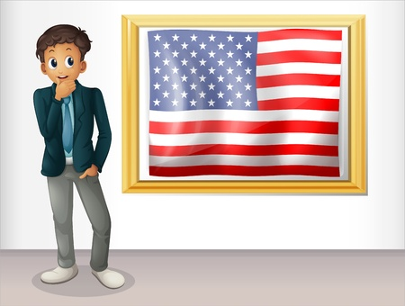 Illustration of a framed flag of the USA beside a man on a white background Stock Vector - 18549677