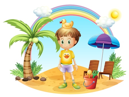Illustration of a young child with his toys near the coconut tree on a white background Vector