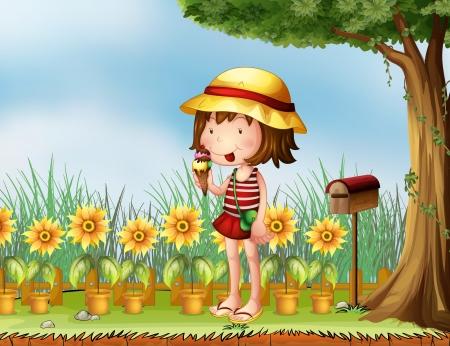 Ilustración de una niña comiendo junto a un buzón de madera