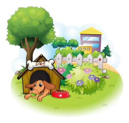 Illustration of a dog inside a doghouse across the big buildings on a white background Vector