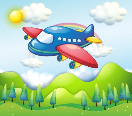 Illustration of a colorful airplane above the hills Vector