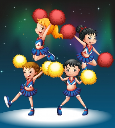Illustration of the four cheerdancers