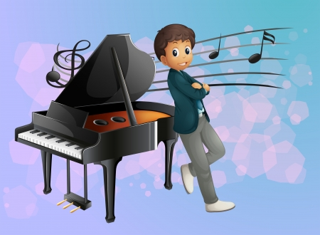 Illustration of a piano at the back of the musician Vector