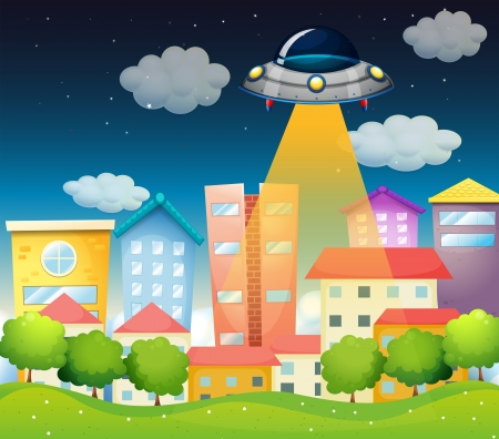 home clipart: Illustration of a spaceship above the buildings