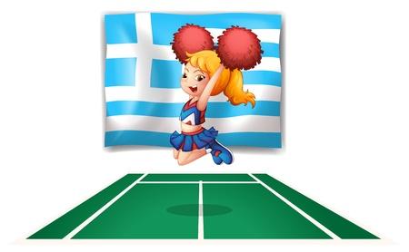 persona saltando: Ilustración de un cheerdancer delante de la bandera de Grecia sobre un fondo blanco Vectores