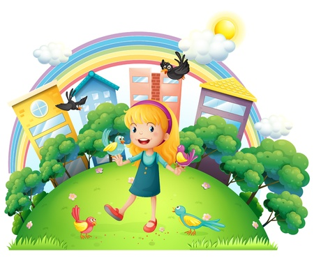 rainbow scene: Illustration of a young girl with a lot of birds on a white background Illustration