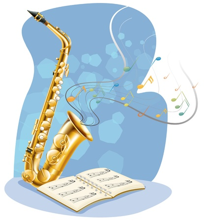 Illustration of a saxophone with a musical book on a white background Vector