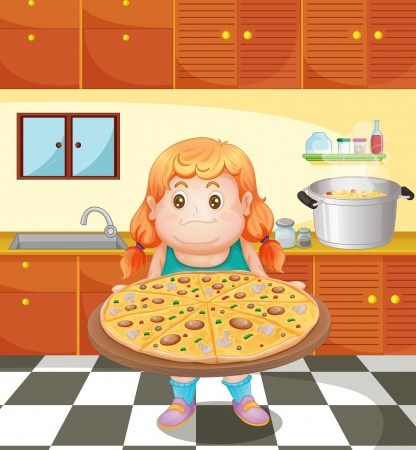Illustration of a fat young woman with a pizza Stock Vector - 18549703