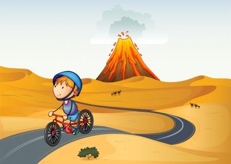 bike riding: Illustration of a boy riding a bike in the desert Illustration