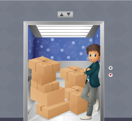 Illustration of an elevator full of boxes Stock Vector - 18549529