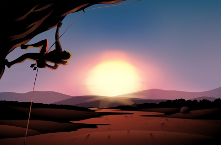 rock climber: Illustration of the afternoon view of the desert