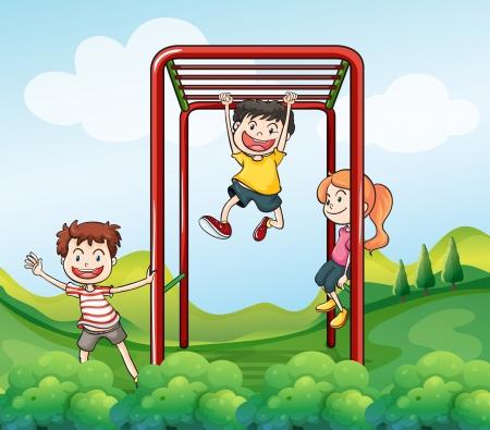 patio escuela: Ilustraci�n de los tres ni�os jugando en el parque Vectores
