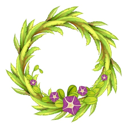 Illustration of a round green border with flowers on a white background Vector