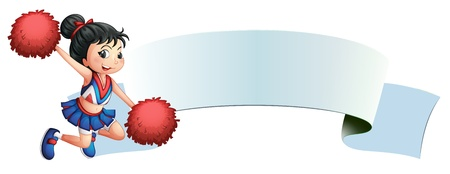 pom pom: Illustration of a cheerleader beside an empty space on a white background