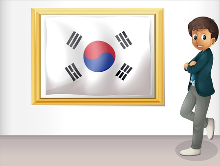 Illustration of a framed flag of Korea and the young man on a white background Stock Vector - 18549682