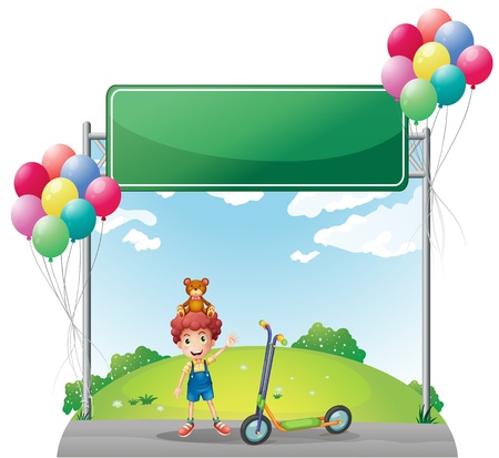 Illustration of a young boy with his toys near the empty signage on a white background Vector