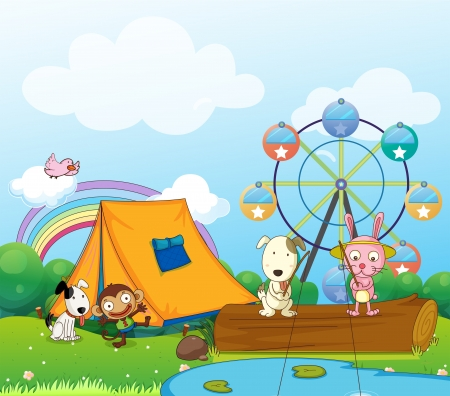 Illustration of the animals near the ferris wheel Vector