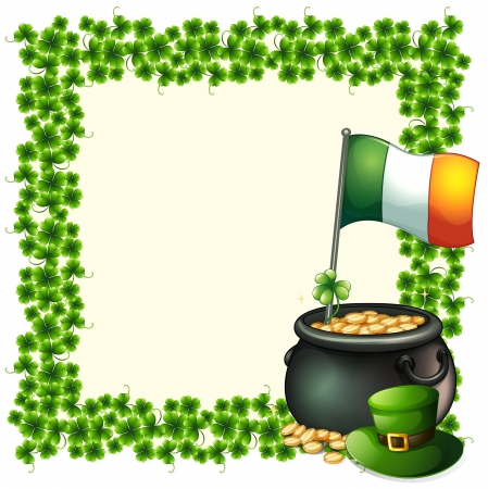holiday celebrations: Illustration of a green frame border with the flag of Ireland on a white background