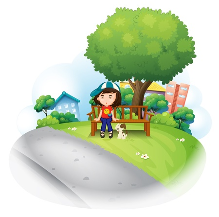 park bench: Illustration of a girl sitting at the wooden bench near the big tree on a white background