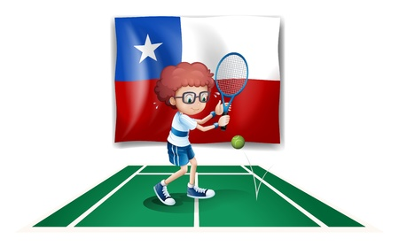 Illustration of the flag of Chile at the back of a tennis player on a white background Vector