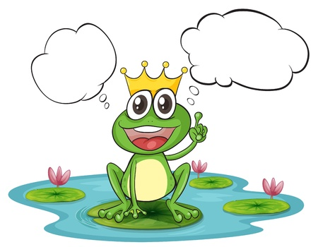Illustration of the thinking frog with a crown on a white background Vector