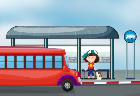 bus station: Illustration of a lady with her pet at the waiting shed