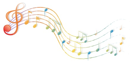 Illustration des notes musicales et le G-clef sur un fond blanc Vecteurs