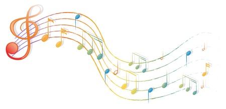 illustraiton: Ilustraci�n de las notas musicales y el G-clef en un fondo blanco Vectores