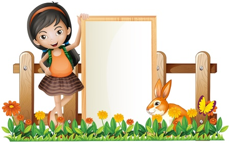 cartoon rabbit: Illustration of a girl standing beside an empty frame with a bunny on a white background