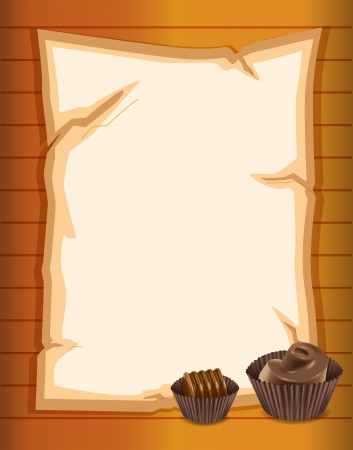 picutre: Illustration of a stationery paper with chocolate cupcakes
