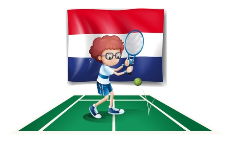 Illustration of the flag of Netherlands at the back of a tennis player on a white background Stock Vector - 18549539