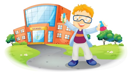 science chemistry: Illustration of a scientist in front of a school building on a white background