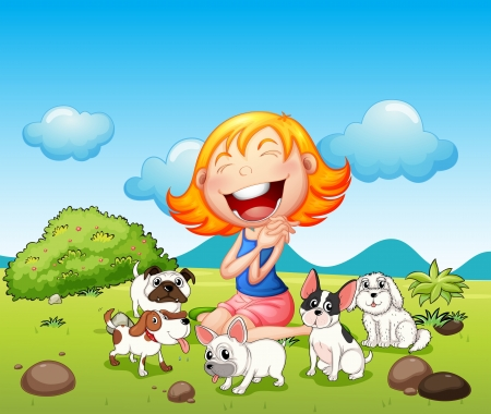 Illustration of a happy lady with her pets