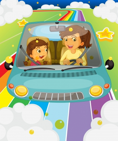 woman driving car: Illustration of a mother driving with her daughter