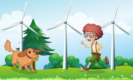 Illustration of a boy playing with his dog near the windmill Vector