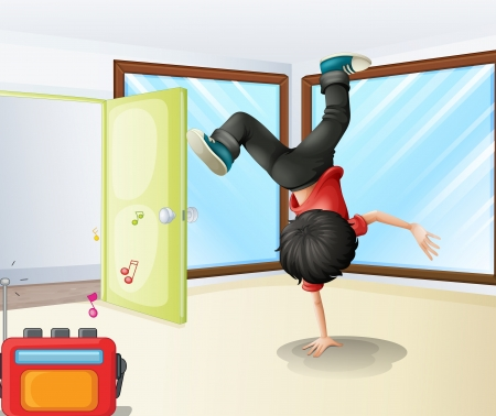 Illustration of a young dancer rehearsing inside a studio Vector