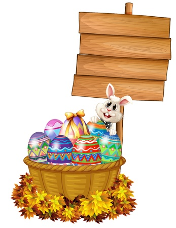 Illustration of a bunny and a basket with eggs near a signage on a white background Vector