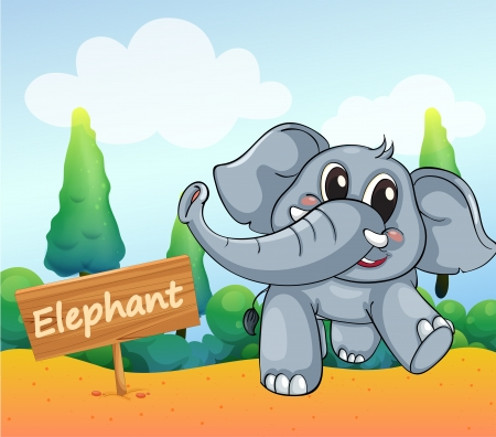 Illustration of a baby elephant beside a wooden board Stock Vector - 18549465