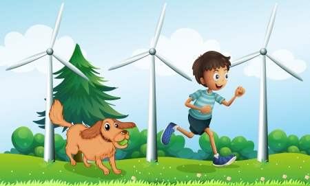 dog park: Illustration of a boy and his dog near the three windmills Illustration