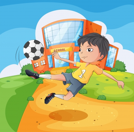 terrain foot: Illustration d'un joueur de football devant le bâtiment de l'école