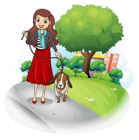 dog walking: Illustration of a woman with her dog at the road on a white background Illustration