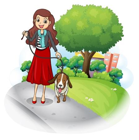 lead: Illustrazione di una donna con il suo cane in strada su uno sfondo bianco