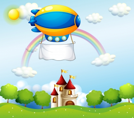 blimp: Illustration of an airship with an empty banner above a castle