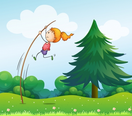 pole vault: Illustration of a girl playing with the stick at the hills