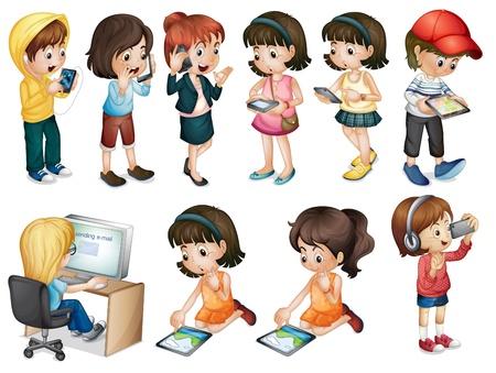 computadora caricatura: Ilustración de las diferentes actividades de las mujeres jóvenes sobre un fondo blanco Vectores