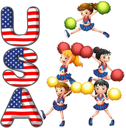 Illustration of the USA cheering squad on a white background Vector