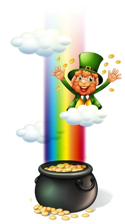 pot of gold: Illustration of a man throwing coins and a pot full of coins on a white background Illustration