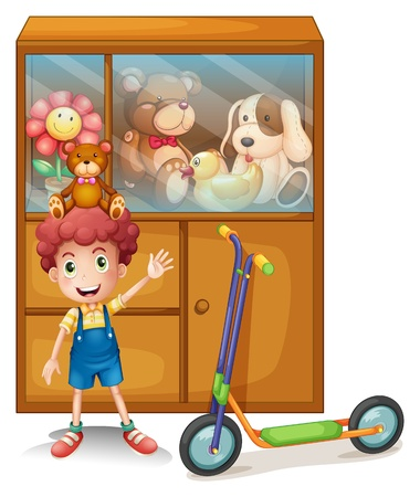 Illustration of a boy and his scooter in front of his toy collections on a white background Vector