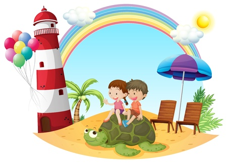 white sand beach: Illustration of the kids playing with the turtle at the seashore on a white background Illustration